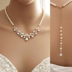 Rose Gold Backdrop Necklace Bridal Backdrop by poetryjewelry
