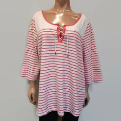Reitmans Lace Up Striped Top Womens Plus Size Pink Heather Gray Sleeves Heather Gray, Lace Up, Tunic Tops, Blouses, Plus Size, Grey, Casual, Sleeves, Pink