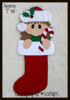 Christmas Stocking Girl Scrapbook Paper Piecing