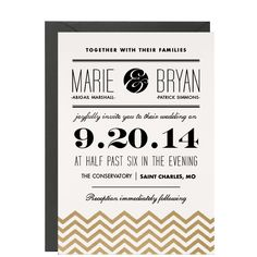 Gold Chevrons Wedding Invitation - With some color modification these could be awesome!
