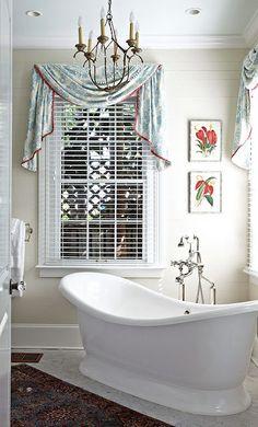 Bathroom Window Options custom designer swag valance, relaxed roman stationary curtain