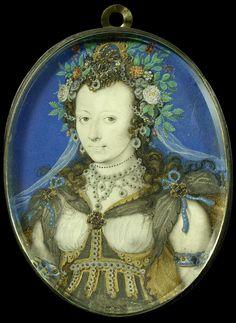Isaac Oliver | Portret van een vrouw in maskeradekleding als Flora, Isaac Oliver, 1575 - 1617 | Portret van een vrouw in maskeradekleding als Flora. Ten halven lijve, naar links, met een hoofdtooi bestaande uit bloemen en planten. Onderdeel van de collectie portretminiaturen.