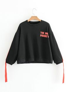 Slogan Print Strap Tape Sweatshirt