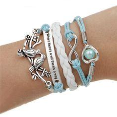Double leather multilayer Charm bracelet