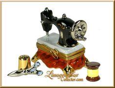 Sewing Machine Scissors Bobbin Thimble Trinket Box