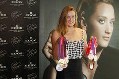 Mireia Belmonte con sus 14 medallas de los Europeos de Berlín y las dos etapas de la Copa del Mundo en Doha y Dubai