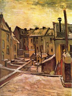 BACKYARDS OF OLD HOUSES IN ANTWERP IN THE SNOW:  Vincent Willem van Gogh,30 March 1853 – 29 July 1890) was a Dutch post-Impressionist painter whose work had a far-reaching influence on 20th century art for its vivid colors and emotional impact. He suffered from anxiety and increasingly frequent bouts of mental illness throughout his life and died, largely unknown, at the age of 37 from a self-inflicted gunshot wound.