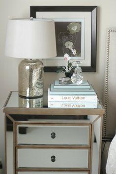 mirrored nightstand + mercury glass lamp