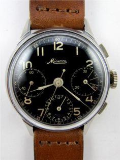 Minerva SS Gilt Dial Chronograph circa 1950's
