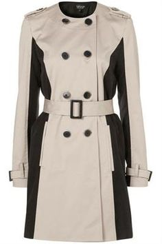 Optical Illusion Trench  Collarless panel trenchcoat, Topshop,  topshop.com.