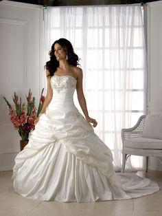A-line Strapless Sleeveless Taffeta Wedding Dress #USAHS135
