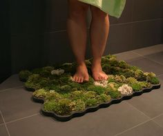 How awesome! A live moss bath mat. Bring a more natural look to your bathroom by creating this moss shower mat at home. Ideas Geniales, Home Projects, Home Improvement, House Design, Indoor, Interior Design, Home Decor, Bathroom Mat, Bathroom Carpet