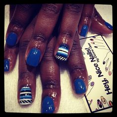 blue tribal nails