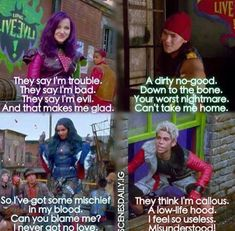 """""""Mirrir mirror on the wall who is the badest of them all?"""" --- mal evie carlos & jay rotten to the core from disney descendants Disney Channel Movies, Disney Channel Descendants, Disney Descendants 3, Descendants Cast, Disney Movies, Cameron Boyce, Dove Cameron, Rotten To The Core, Decendants"""