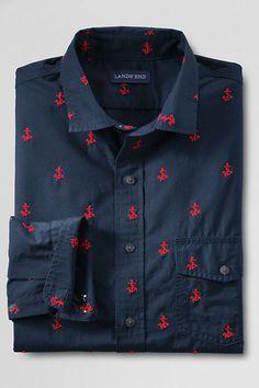 Anchor embroidered poplin shirt