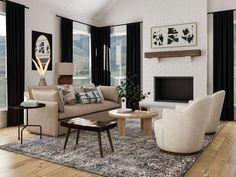 living room white rounded chairs beige couch Best Living Room Design, Dream Home Design, Living Room Modern, Living Room Designs, House Design, Living Rooms, Living Room Trends, Family Rooms, Living Area
