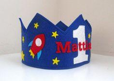 Space Birthday Crown Rocket Crown Wool Felt by pixieandpenelope