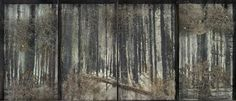 Anselm Kiefer (Germ. born 1945), Fitzcarraldo, 2010, Oil, emulsion, acrylic, shellac, ash, thorn bushes, resin ferns, synthetic teeth, lead and rust on canvas in glass and steel frames, 331.9 × 768 × 35.1 cm, Gagosian Gallery