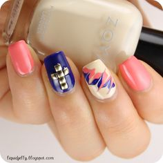 Liquid Jelly: Studded Cross #nail #nails #nailsart