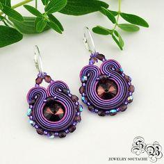 Mini Earrings Soutache, violet, Soutache earrings, small earrings