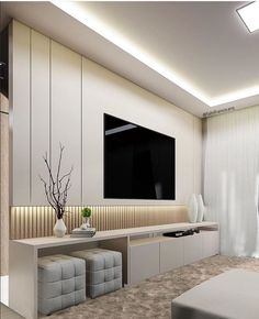 Different TV Background Wall Design Makes The Living Room Look High-end, Atmospheric and Superior - Lily Fashion Style Living Room Decor Tv, Living Room Tv Unit Designs, Living Room Wall Units, Home Living Room, Living Room Tv Cabinet, Apartment Living, Tv Unit Decor, Tv Decor, Decor Ideas