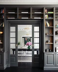 Grey Doorway Exceptional Built In Bookcase Ideas