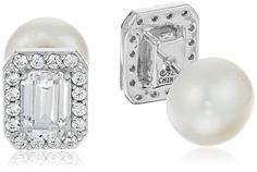 Platinum-Plated Sterling Silver Swarovski Zirconia Freshwater Cultured Pearl Emerald-Cut 2-Way Stud Earrings * For more information, visit image link. (This is an Amazon Affiliate link and I receive a commission for the sales)