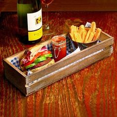 Wooden Food Presentation Crate 34 x 12 x 7cm | Fast Food Basket, Burger Basket