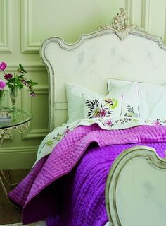 Designers Guild create inspirational home décor collections and interior furnishings including fabrics, wallpaper, upholstery, homeware & accessories. Girls Bedroom, Dream Bedroom, Home Bedroom, Bedroom Decor, Lilac Bedroom, Bedroom Green, Trendy Bedroom, Designers Guild, Style At Home