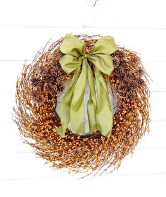 FALL PINECONE Wreath-Autumn Door Decor-Holiday Wreath-Rustic Door Decor-Fall Wreaths-Scented Primitive Pine-Custom-Choose Scent and Ribbon