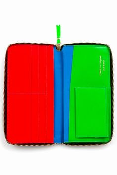 Comme des Garcons   super fluorescent long zip-around wallet - blue