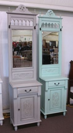 Distressed Light Gray Painted Foyer Hall Tree Cabinet with Hat Rack ...
