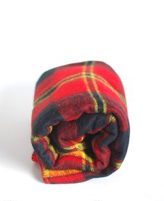 Vintage Blanket-Plaid-Campbell-Beacon-Yellow-Red-Camping on Etsy, $49.61