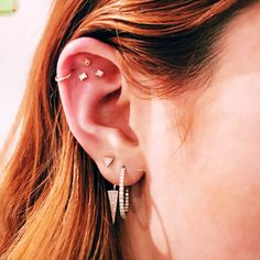 Pretty Piercing Inspiration - Double lobe, helix and triple flat.