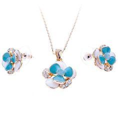 Arinna Blue Lovely Floret Fashion Necklace Earrings Set Gold Gp Swarovski Elements Clear Crystal Arinna. $29.98