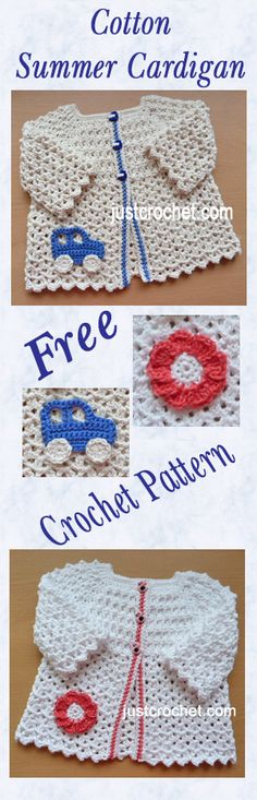 Free baby crochet pattern for cotton summer cardi to fit 6-12 month baby. crochet as a gift for family and friends.