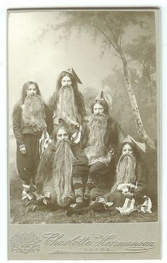 By Charlotte Hermanson, Skara, dated 1902...group of girls dressed as Tomtar (gnomes) for a school play