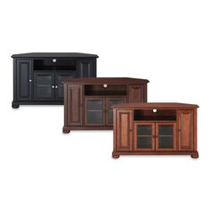 This traditionally styled TV stand adds sophisticated style to any space. This lovely corner TV stand cabinet features tempered beveled glass doors, and stylish raised panel doors. Corner Tv Stands, Corner Tv Unit, Living Room Remodel, Home Living Room, Corner Tv Cabinets, Tv Stand Cabinet, Raised Panel Doors, Room For Improvement, Diy Tv Stand