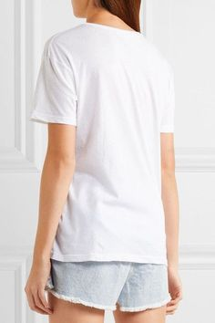Mikoh - Flocked Cotton-jersey T-shirt - White - 2