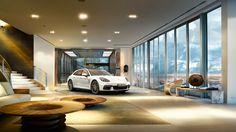 New 2018 Porsche Panamera Sport Turismo Shows Its Sexy Side Panamera Turbo S, Porsche Panamera Turbo, Dream Garage, Car Garage, Luxury Cars, Luxury Homes, Panamera Sport Turismo, Cool Garages, Garage Design