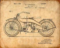 Imprimir patentes de un motocicleta Harley lámina por VisualDesign