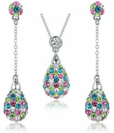 Arco Iris Jewelry - Multicolor Oval Crystals And Cubic Zirconia Necklace And Earrings Set (Purple, Blue, Green And Clear) 3019901, http://www.amazon.co.uk/dp/B00CLFYF1W/ref=cm_sw_r_pi_awdl_gAsPtb0QW81CX