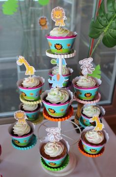 Cute cupcakes at a Baby Jungle Animals Birthday Party!  See more party ideas at CatchMyParty.com!