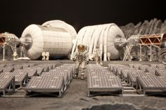|| MINIATURE MOON BASE — Model of a lunar base by Bigelow Aerospace, North Las Vegas, Nevada. January 25, 2011. Photo by Isaac Hernandez.