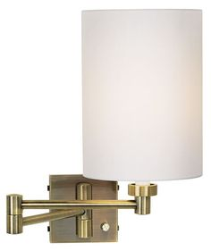 Antique Brass with White Shade Swing Arm Wall Lamp - Euro Style Lighting