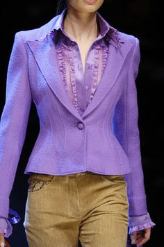 Lavender Blouse and Jacket, Beige pants awesome color combination.