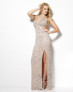 Sean Collection 2013 Nude Sequin Halter V-neck beaded Cut Out Prom Dress 50516 Cut Out Prom Dresses, Senior Prom Dresses, Pageant Dresses, Formal Dresses, Wedding Dresses, Metallic Look, Designer Prom Dresses, Prom Girl, Flowy Skirt