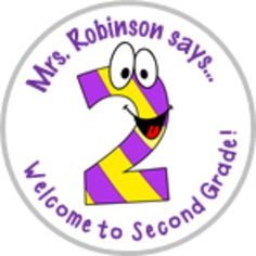 These personalized cartoon welcome to second grade stickers are a great way to welcome your students to their new classroom. They can be used in a variety of ways. You receive 48 stickers per sheet with the name that you select. Stickers are 1.25 inches in diameter and feature the cartoon graphic shown above in sharp, crisp colors. Quality guaranteed!