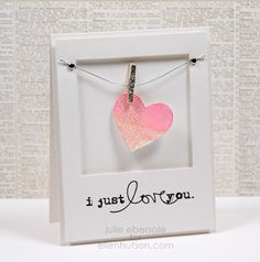 """adorable """"clothesline"""" featuring a watercolored heart - do for a wedding or anniversary card or Valentine Love Valentines, Valentine Crafts, Valentine Day Cards, Saint Valentine, Love Cards, Diy Cards, Heart Cards, Anniversary Cards, Happy Anniversary"""