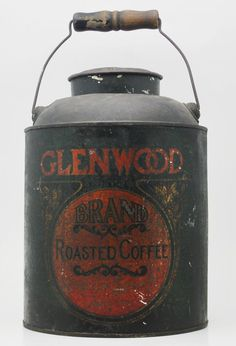 Antique Coffee Tin with Bale Handle by AntiqueInvestments on Etsy, $25.00